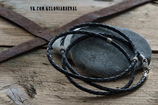 Кожаный шнур Гайтан серебряные вставки
